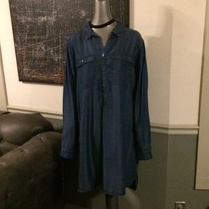 GAP Long Sleeve Chambray Denim Tunic Dress